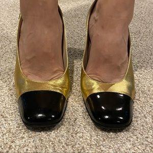 VTG Chanel Size 5.5 Gold Black Sling back Heels